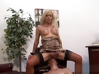 Stockings tgirl guzzles
