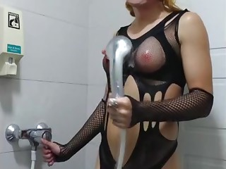 Crqzed Ugly Satanic Meth and Poppers Whore Having Dildo Fun In Bathroom