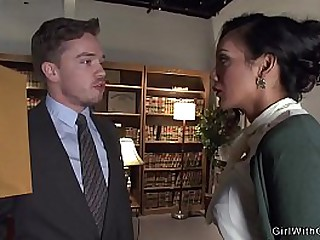 Gorgeous brunette shemale secretary anal fucks her boss in office