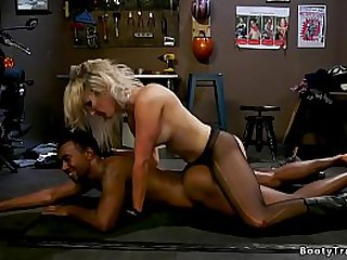 Big boobs blonde shemale hottie Kayleigh Coxx in black tights gets blowjob from black guy Buck Wright then suck his big black cock and fucks his ass