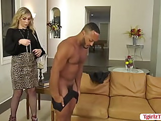 Busty shemale Angelina Please lets her black boyfriend remove his clothes and get ready for the hardcore anal sex.She lets him suck her hard shecock first and she then licks his ass first before they fuck each others wet ass so deep and hard.